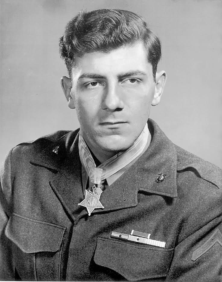 "Pvt.. Hector Cafferata is pictured with the ""Medal of Honor"" around his neck. He was in his early 20s in 1951 when this picture was taken shortly after receiving the nation's highest commendation for military valor. Photo provided."