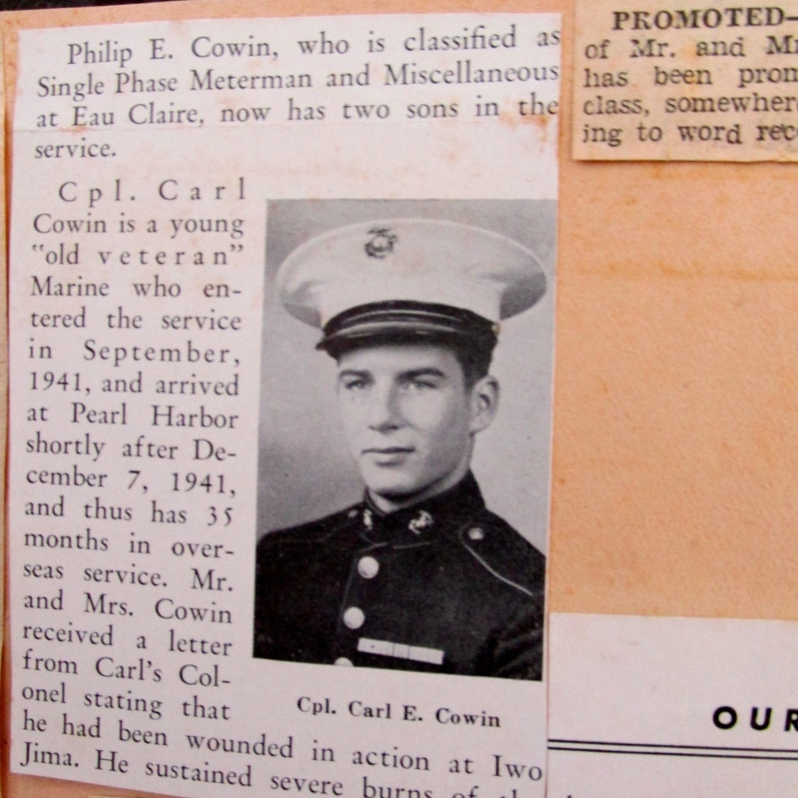 This is a picture of Cpl. Cowin out of his hometown newspaper. It accompanies a story that says he is returning home after serving 35 months overseas during the Second World War. Photo provided