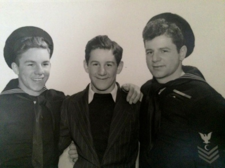 Tony Faella (left) and his two brothers Vincent and Sylvio all served in the Navy during World War II. Tony was an electrician aboard the submarine USS Spearfish (SS-190). Vincent served as a seaman on the destroyer USS Tillman (DD-641) and Sylvio, the eldest, joined the Navy in 1930 as a baker aboard the carrier USS Wasp (CV-18). He was killed in March 1945 when the carrier was bombed by a Japanese kamikaze. Photo provided.
