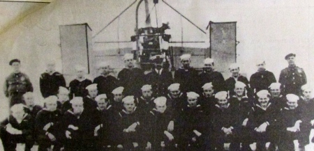 Seaman 1st Class Jim Kolka is pictured third from the left in the front aboard the liberty ship USS Ezra Cornell off Omaha Beach shortly after D-Day during the invasion of Europe by Allied forces in June 1944. He was a guard aboard ship and made a number of Atlantic crossings during the war. Photo provided
