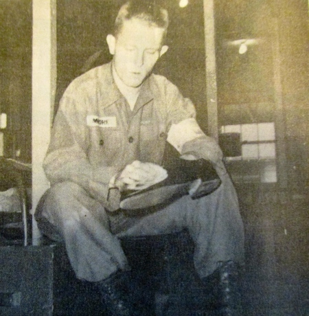 Don Moore at 19 in 1958 is learning how to soldier during basic training at Fort Jackson, S.C.  Sgt. Sapp  taught him how to be a soldier along with the rest of the young men in his platoon. Photo provided