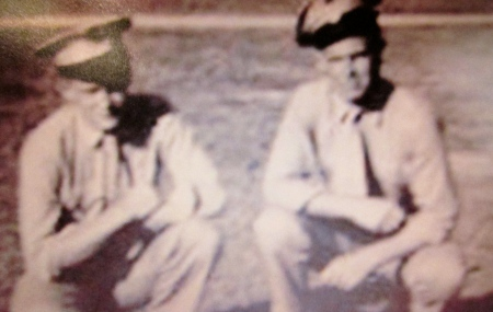 Tom Cavanagh (right) of Deep Creek and his buddy Donald Turner are pictured at Parris Island, S.C.  They both graduated from Marine Corps boot camp there in 1945. Photo provided