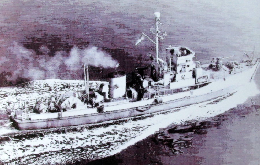 YMS-192 was the 136-foot, wooden minesweeper he served on during the end of the war in the Pacific. Photo provided