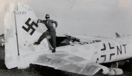 Howard Bolin checks out the remains of a German plane left at the Munich airport during some of his off time while serving with the Occupation Forces in Munich. Photo provided