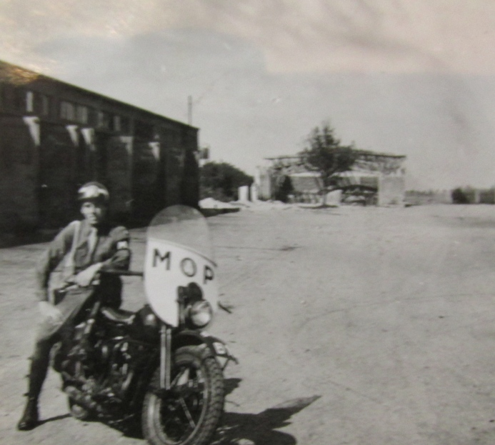 "Pfc. Howard Bolin is pictured on his ""45-Harley Davidson"" while serving as an a member of the Army's military police in Munich, Germany in 1947 and '48. Photo provided"