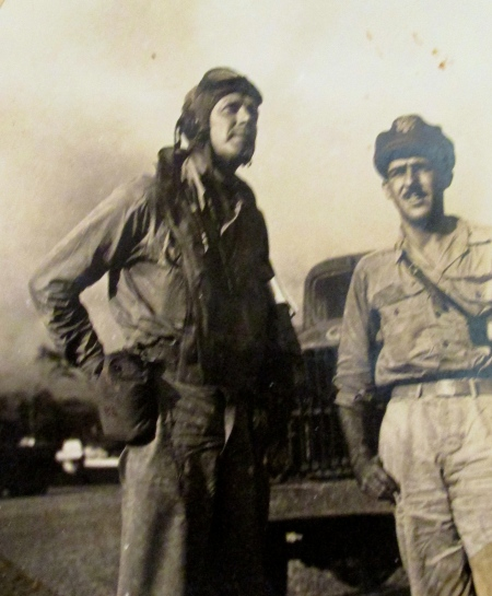 Charles Lindbergh, in the jump suit, and Maj. Thomas McGuire, America's number two air ace, were tent pals in 1943 on Hollandia Island in the Pacific during World War II. Lindberg was sent to the Pacific Island to show McGuire's P-38 fighter squadron how to better fly their fighter planes. Photo provided
