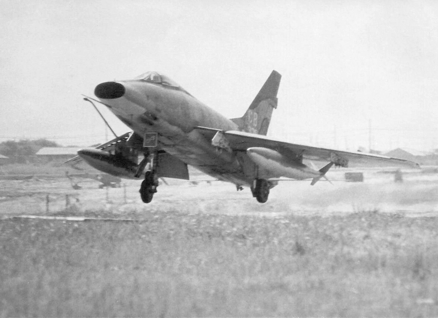 One of Hardy's squadron F-100s returns from a mission over enemy territory. Photo provided