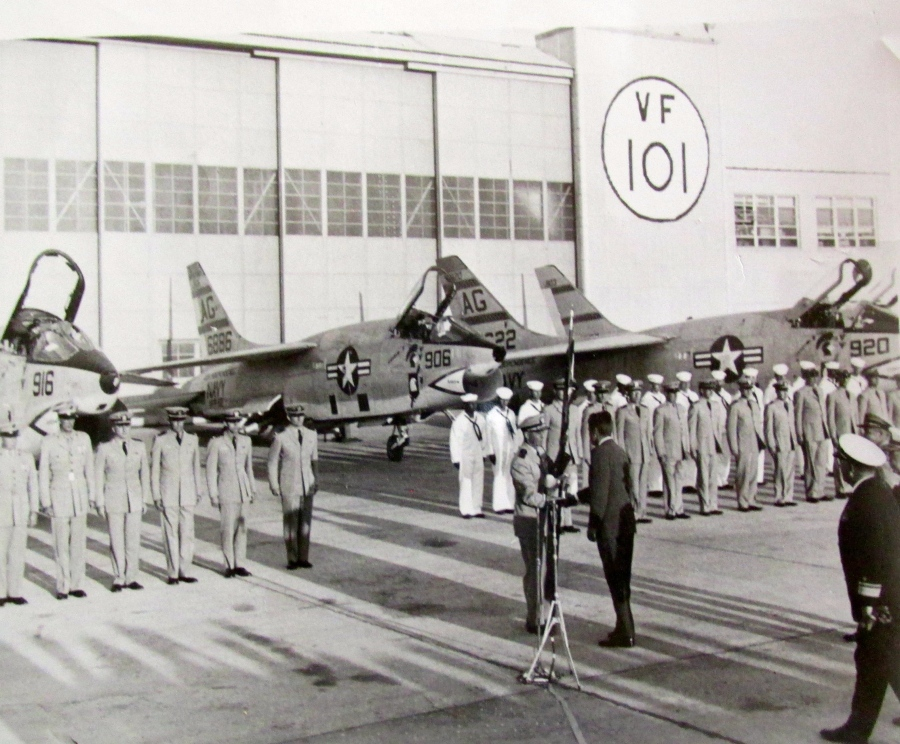 "President John F. Kennedy presents Light Photographic Squadron 62 with a ""Presidential Unit Citation"" for capturing a low altitude picture of the Russian nuclear missiles in Cuba during the ""Cuban Missile Crisis"" in 1962. The presentation was made at Boca Chica Naval Air Station in Florida. Photo provided"