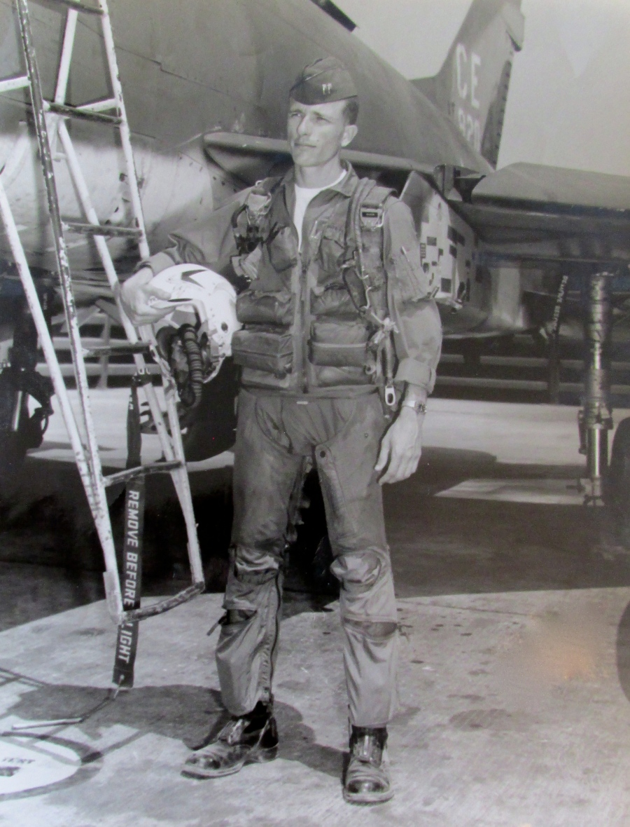 Capt. Bob Hardy prepares to leave on a mission in his F-100 Sabre Jet during a tour in Vietnam. Photo provided