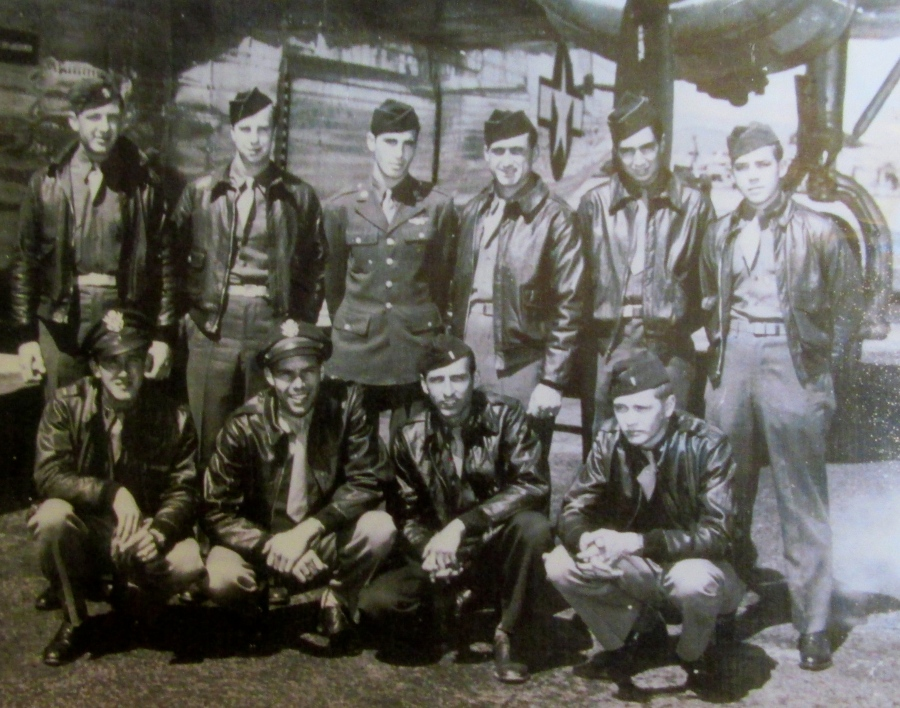 Horner squats in the front row at the far left at March Field in California with the rest of his B-24 crew before they were sent to the Pacific during the Second World War. Photo provided