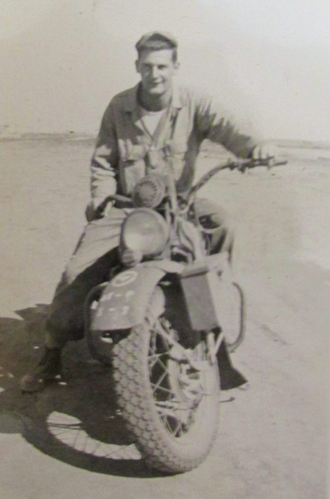Jaderholm on his Army Air Corps issued Harley Davidson motorcycle while serving in Japan in the M.P.s shortly after the end of World War II. Photo provided