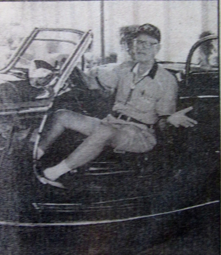 Bob Granchi of Port Charlotte, Fla., a former member of the 101st Airborne Division in World War II who liberated Hitler's car, got to sit in the sporty vehicle at an annual gathering of the unit at Fort Campbell, Ky. in 2002. Photo provided