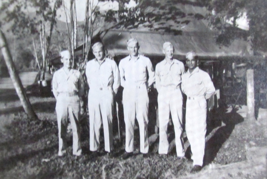 Sgt. Ken Bender is the tall one in the center. This picture was taken on New Guinea during the Second World War. Photo provided