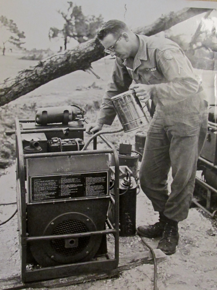 Pfc. Cheney works on a generator during his time in the Panama Canal Zone while serving in the U.S. Army in the early 1960s. Photo provided