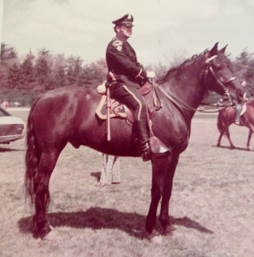"LeMoine rides ""Tom Boy"" as a member of the Boston Metropolitan Police Department's mounted patrol in 1972. Photo provided"