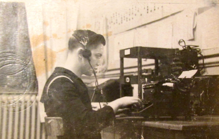 Seaman Ken Lubold of Englewood listens to Morris Code and types the information on paper for his Navy boss. At the time he was a 19-year-old seaman serving in Bremerhaven, Germany shortly after the end of the Second World War. Photo provided