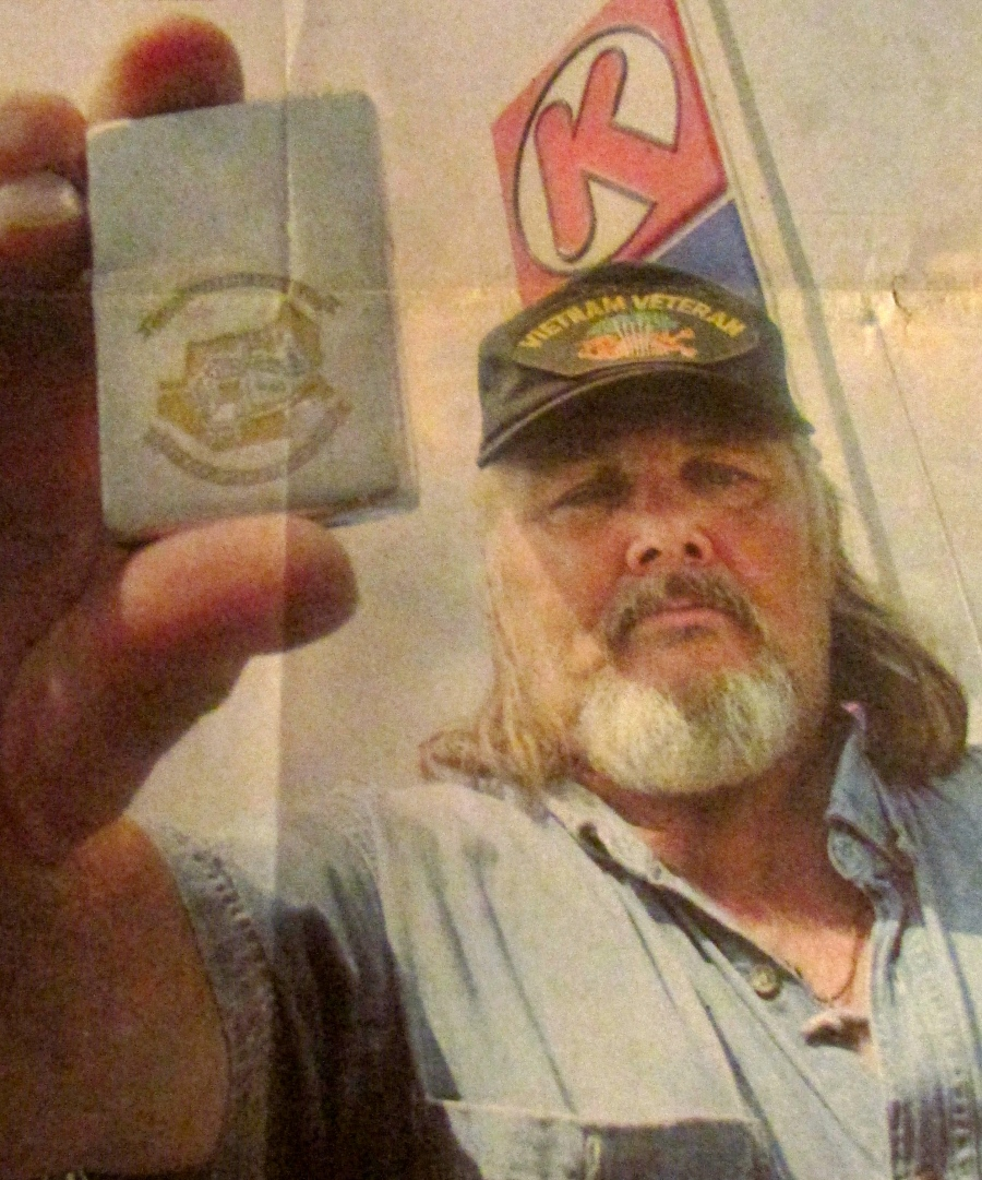 Ray Lynch, who lives in South Gulf Cover, who lost the Zippo lighter he had since Vietnam in a local Circle K. A North Port youth found it and returned it. Sun photo by Jeffrey Langlois