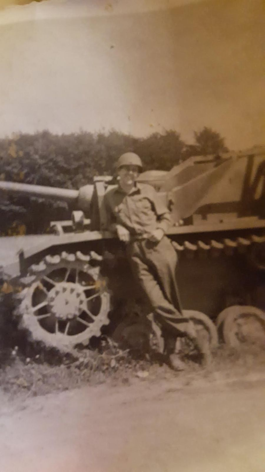 Cpl. Joe Cigich stands in front of the Sherman tank somewhere in Europe. He was a member of 135th Anti-aircraft battalion, part of General Omar Bradley's 9th Army that marched through Europe during World War II. Photo provided