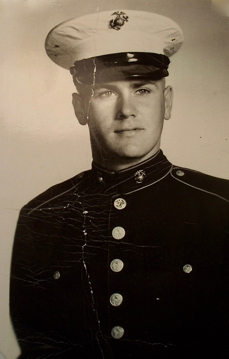 Pvt. Eugene Maulding of Englewood is pictured in his Marine Corps boot camp graduation picture. He was 17 at the time in 1956 wearing his full dress uniform. Photo Provided