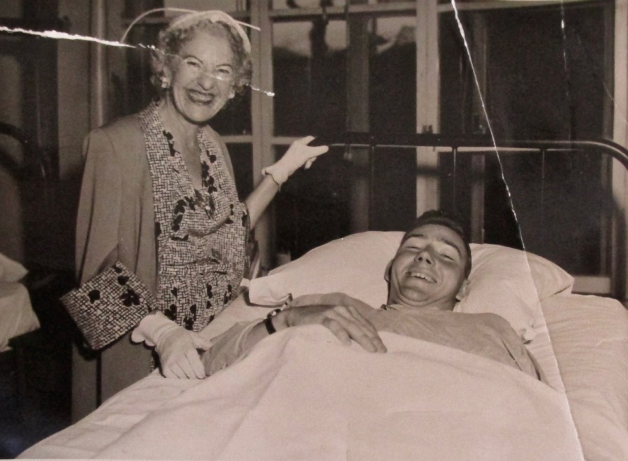 Mrs. Maurine Clark, wife of Gen. Mark Clark, visits Ed Garrick of Port Charlotte while he recoups from war wounds in Tokyo in 1953 following the battle of Pork Chop Hill in Korea earlier that same year. Photo provided