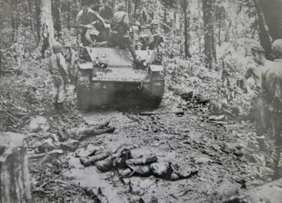 A tank crew works its way through the jungles of New Britain in the Pacific. Pfc. Robert Jones of Venice took part in the fight as a member of the 1st Division. Photo provided