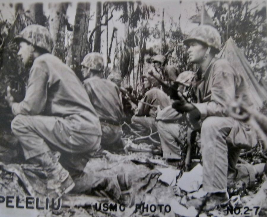 1st Division Marines advance on Peleliu in the Pacific during World War II. Pfc. Robert Jones was a member of the division who fought his way through the islands during the war. Photo provided