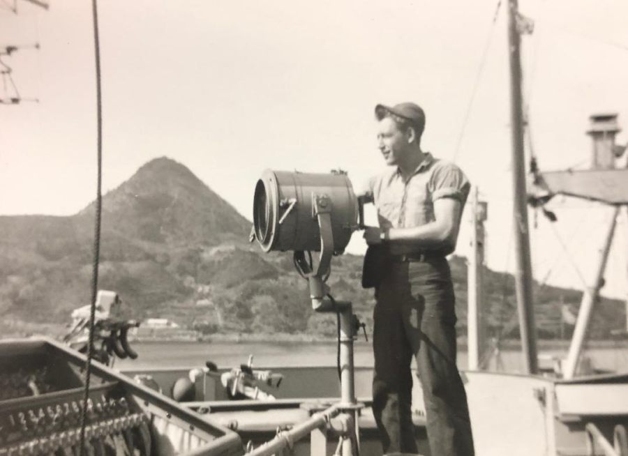 Murphy on a signal light in the islands during the Korean War. He served from '51 to '54 in the Navy. Photo provided