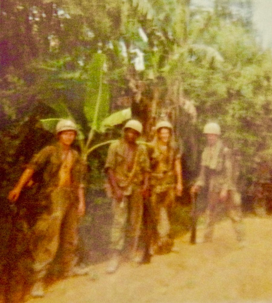Cpl. Kelley and his four-man machin gun team in Vietnam in 1966: Kelley, Clarence Dickens, Glenn Close, and Bill Peters. Photo provided