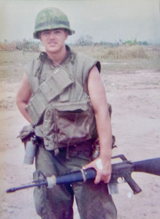 Piazza holds his M-16 rifle while on Hill 41 in Vietnam. He served with Delta Company, 7th Marines, 1st Marine Division. Photo provided.