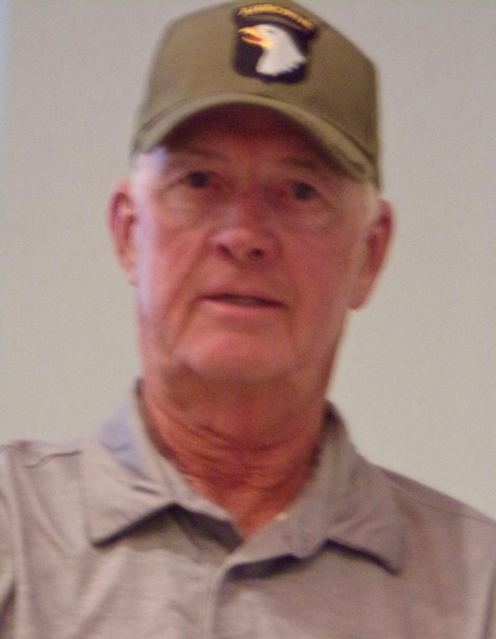 This is Howard Catley today wearing his 101st Airborne cap while telling his war story. Sun photo by Don Moore