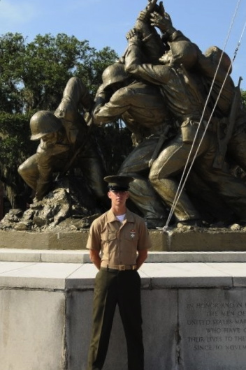 Chris Eaton is the current personification of the Marine's raising the flag on Iwo Jima during World War II. Photo provided