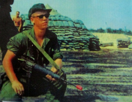 Sp-4 Robert Weatherhead holds his M-16 assault rifle at Patrol Base Diamond III southwest of Tay Ninh City hours before his 25th Infantry Division was attacked by three battalions of North Vietnamese Army regulars on April 15, 1969. Fifteen Americans died in the firefight. Photo provided